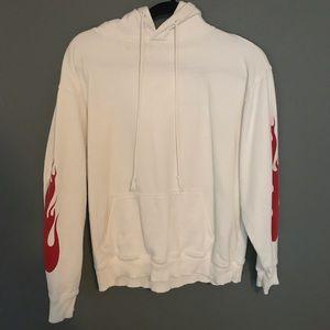 Brandy Melville white flames hoodie